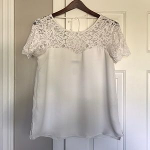 Zara white blouse with lace top